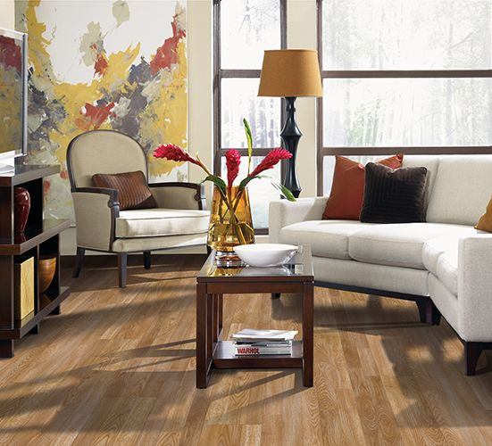 Living room with wood look laminate floor